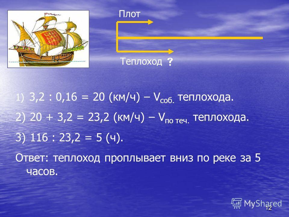 12 Плот Теплоход 1) 3,2 : 0,16 = 20 (км/ч) – V соб. теплохода. 2) 20 + 3,2 = 23,2 (км/ч) – V по теч. теплохода. 3) 116 : 23,2 = 5 (ч). Ответ: теплоход проплывает вниз по реке за 5 часов.
