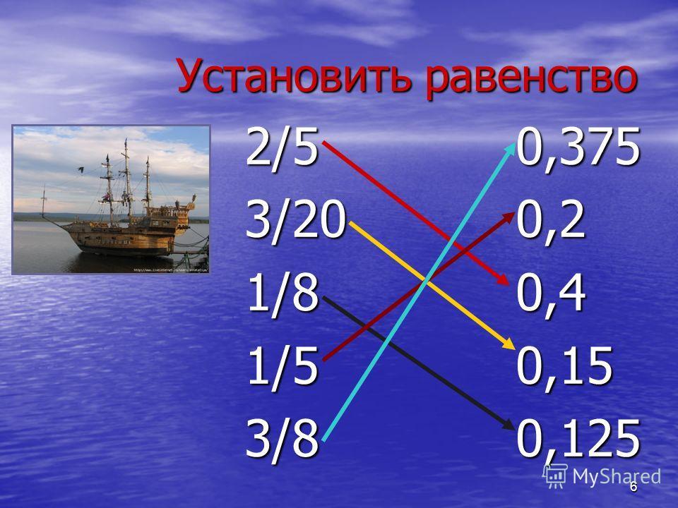 6 Установить равенство 2/50,375 3/200,2 1/80,4 1/50,15 3/80,125