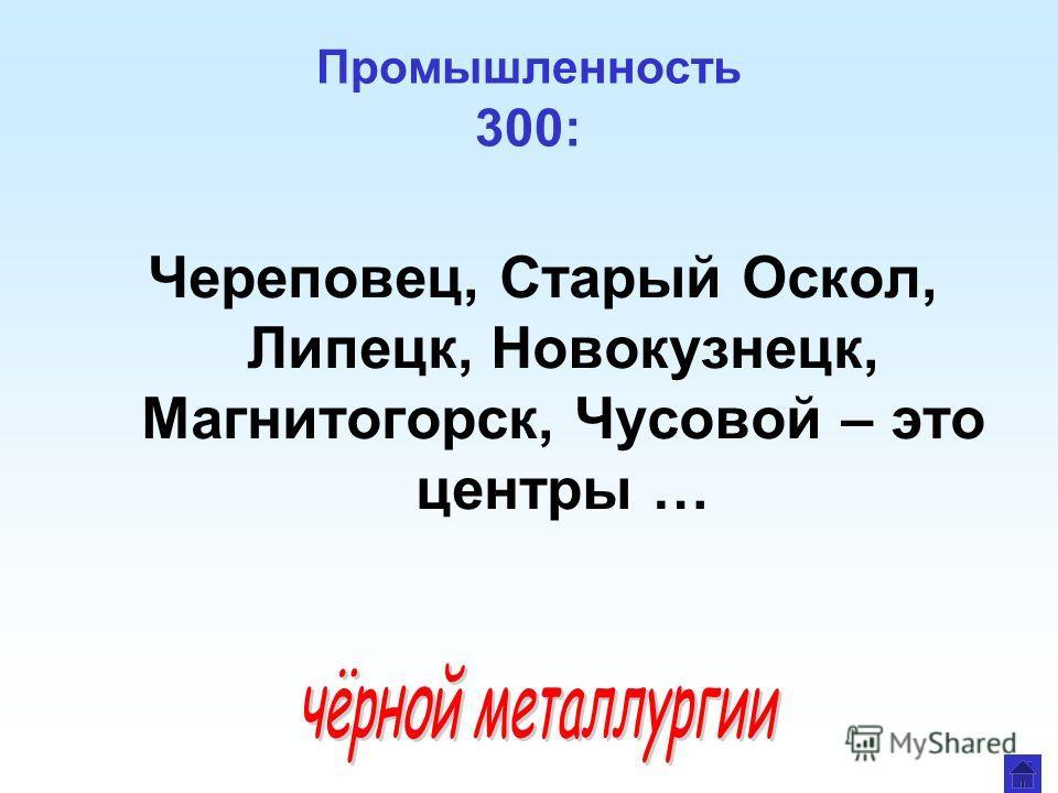 Промышленность 300: Череповец, Старый Оскол, Липецк, Новокузнецк, Магнитогорск, Чусовой – это центры …