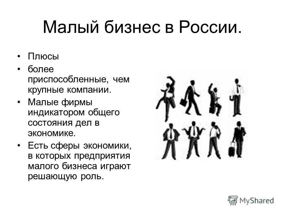 Малый бизнес в России. Плюсы более приспособленные, чем крупные компании. Малые фирмы индикатором общего состояния дел в экономике. Есть сферы экономики, в которых предприятия малого бизнеса играют решающую роль.