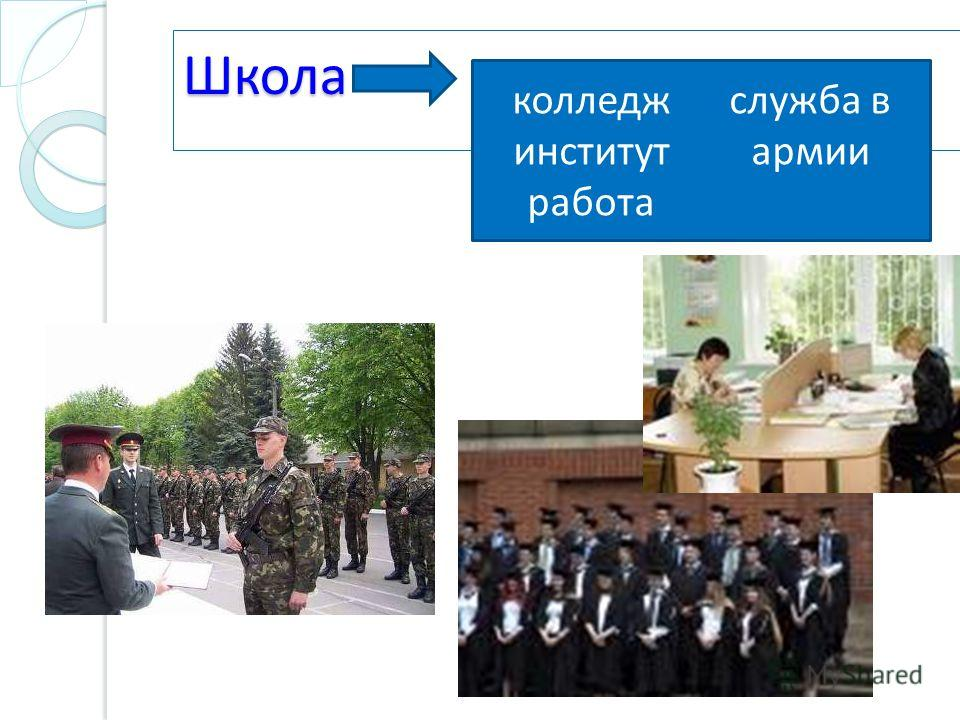 Школа колледж институт работа служба в армии