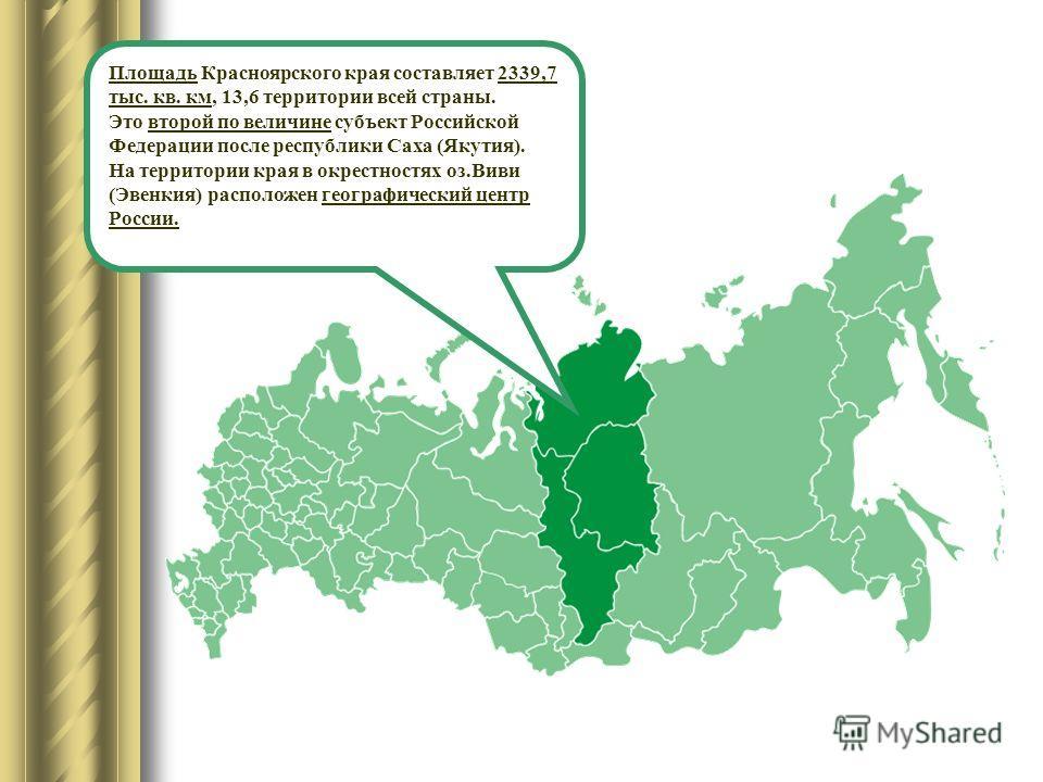 Площадь Красноярского края составляет 2339,7 тыс. кв. км, 13,6 территории всей страны. Это второй по величине субъект Российской Федерации после республики Саха (Якутия). На территории края в окрестностях оз.Виви (Эвенкия) расположен географический ц