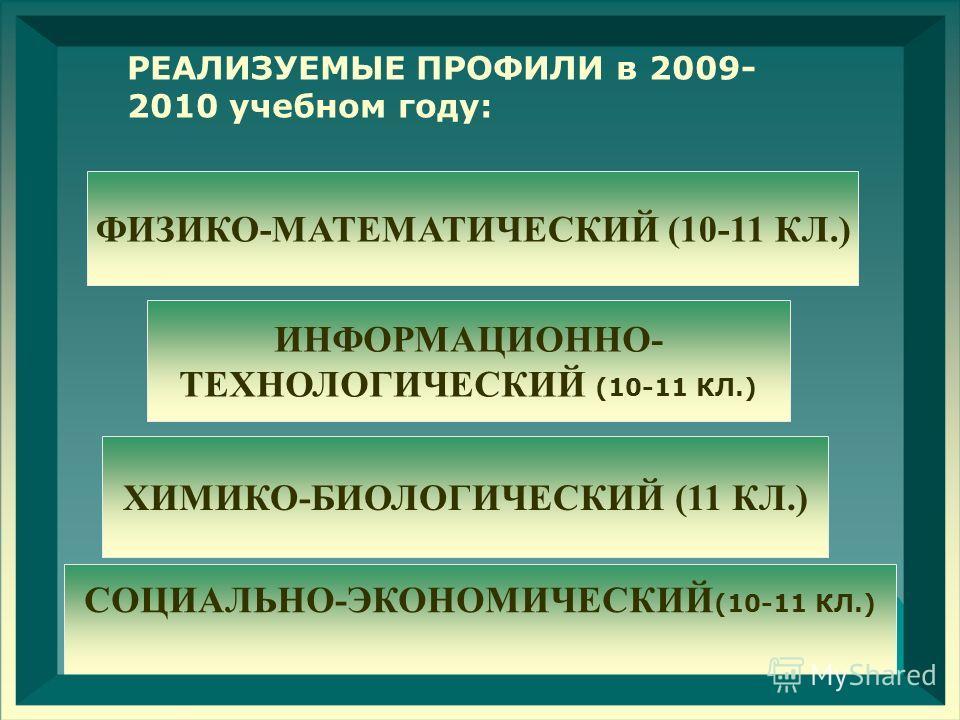 РЕАЛИЗУЕМЫЕ ПРОФИЛИ в 2009- 2010 учебном году: ИНФОРМАЦИОННО- ТЕХНОЛОГИЧЕСКИЙ (10-11 КЛ.) ФИЗИКО-МАТЕМАТИЧЕСКИЙ (10-11 КЛ.) СОЦИАЛЬНО-ЭКОНОМИЧЕСКИЙ (10-11 КЛ.) ХИМИКО-БИОЛОГИЧЕСКИЙ (11 КЛ.)