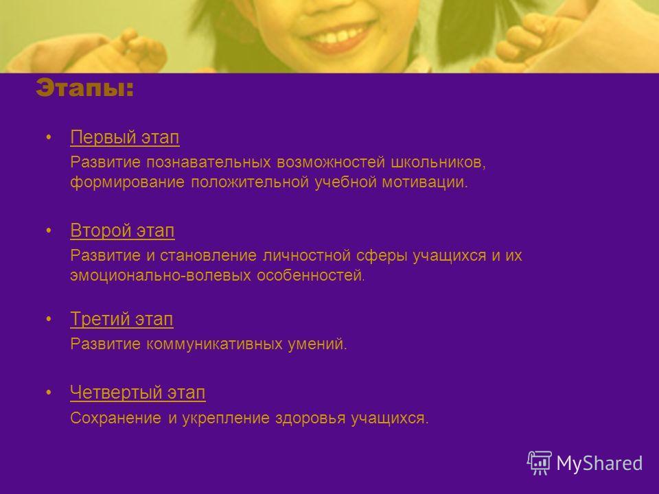 Этапы: Первый этап Развитие познавательных возможностей школьников, формирование положительной учебной мотивации. Второй этап Развитие и становление личностной сферы учащихся и их эмоционально-волевых особенностей. Третий этап Развитие коммуникативны