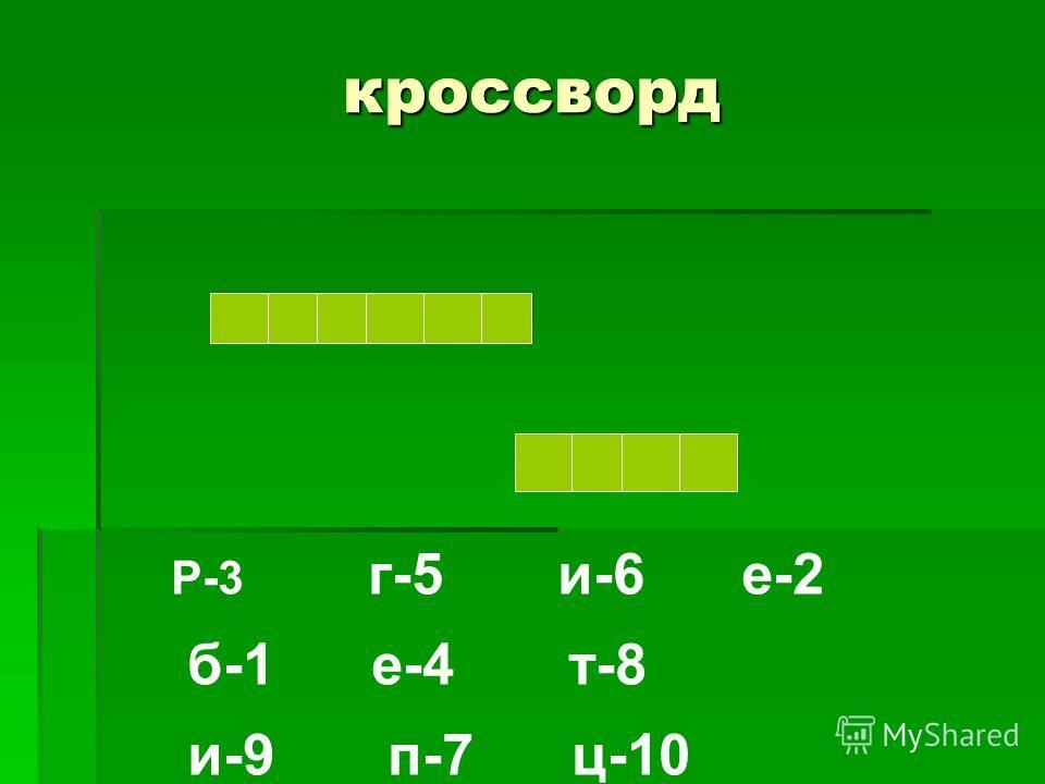 кроссворд Р-3 г-5 и-6 е-2 б-1 е-4 т-8 и-9 п-7 ц-10