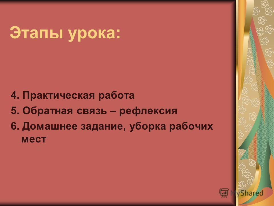 Этапы урока: 4. Практическая работа 5. Обратная связь – рефлексия 6. Домашнее задание, уборка рабочих мест