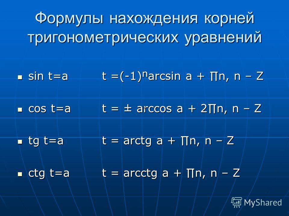Формулы нахождения корней тригонометрических уравнений sin t=a sin t=a cos t=a cos t=a tg t=a tg t=a ctg t=a ctg t=a t =(-1)arcsin a + n, n – Z t = ± arccos a + 2n, n – Z t = arctg a + n, n – Z t = arcctg a + n, n – Z