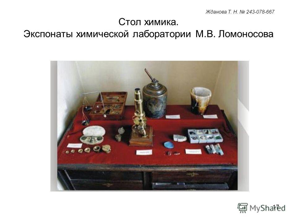17 Стол химика. Экспонаты химической лаборатории М.В. Ломоносова Жданова Т. Н. 243-078-667