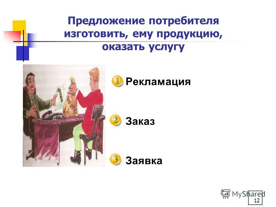 12 Рекламация Заказ Заявка Предложение потребителя изготовить, ему продукцию, оказать услугу