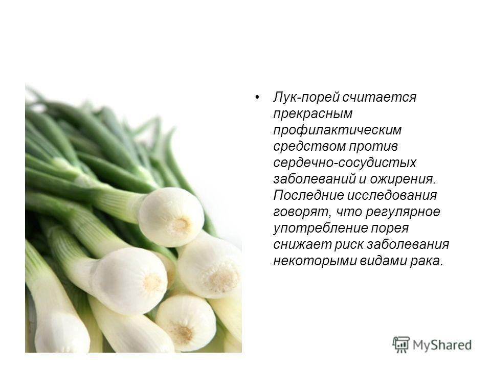Лук-порей считается прекрасным профилактическим средством против сердечно-сосудистых заболеваний и ожирения. Последние исследования говорят, что регулярное употребление порея снижает риск заболевания некоторыми видами рака.