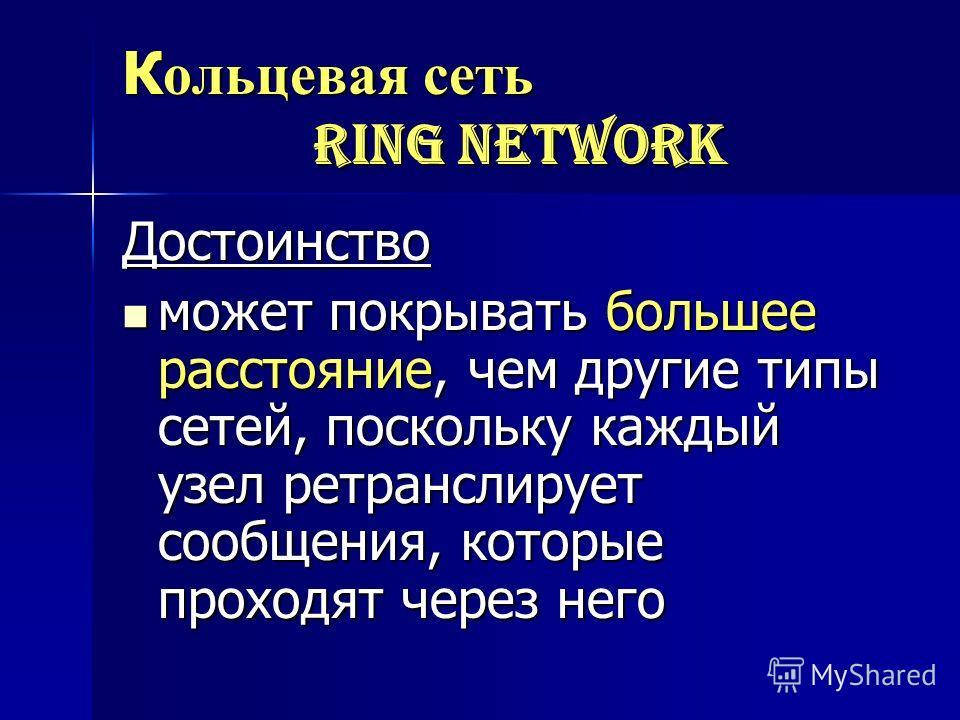 К ольцевая сеть ring network Достоинство может покрывать большее расстояние, чем другие типы сетей, поскольку каждый узел ретранслирует сообщения, которые проходят через него может покрывать большее расстояние, чем другие типы сетей, поскольку каждый