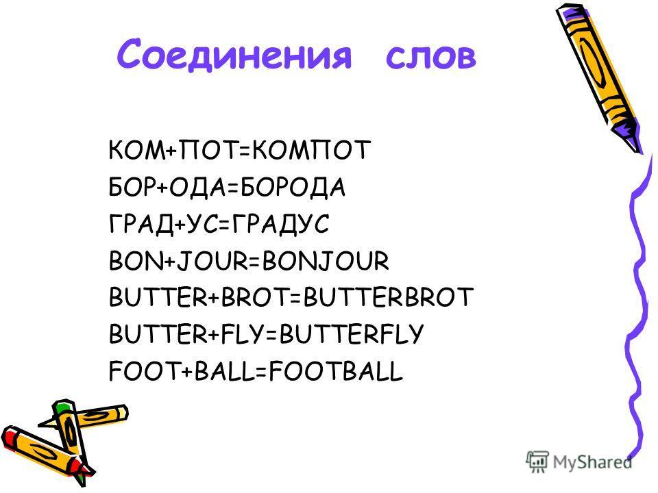 Соединения слов КОМ+ПОТ=КОМПОТ БОР+ОДА=БОРОДА ГРАД+УС=ГРАДУС BON+JOUR=BONJOUR BUTTER+BROT=BUTTERBROT BUTTER+FLY=BUTTERFLY FOOT+BALL=FOOTBALL