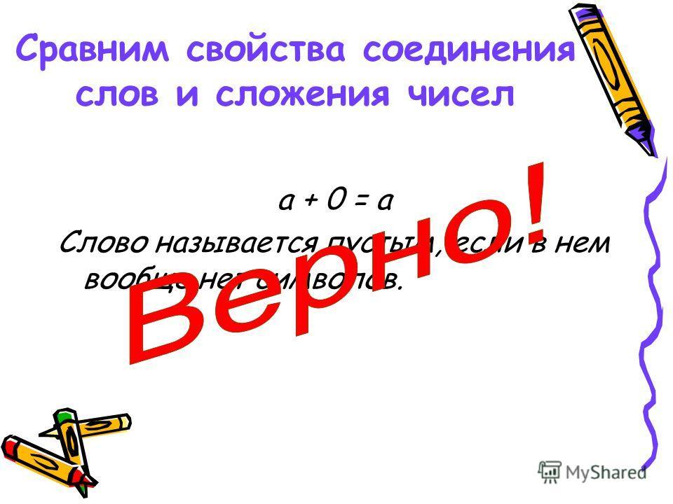 а + 0 = а Слово называется пустым, если в нем вообще нет символов. Сравним свойства соединения слов и сложения чисел