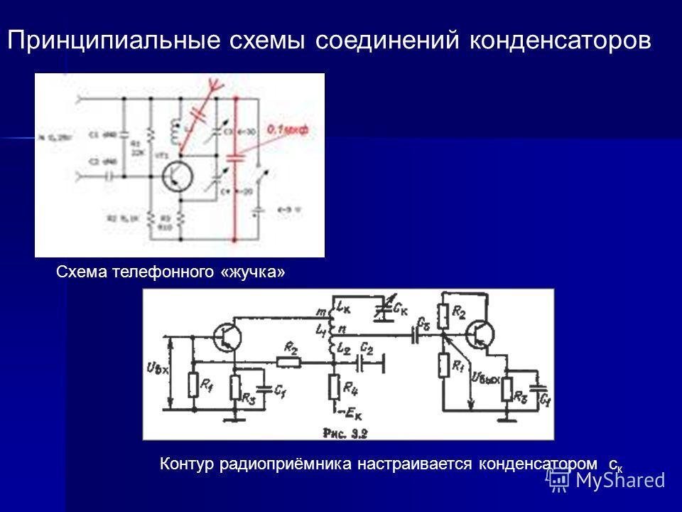 Принципиальные схемы соединений конденсаторов Схема телефонного «жучка» Контур радиоприёмника настраивается конденсатором с к