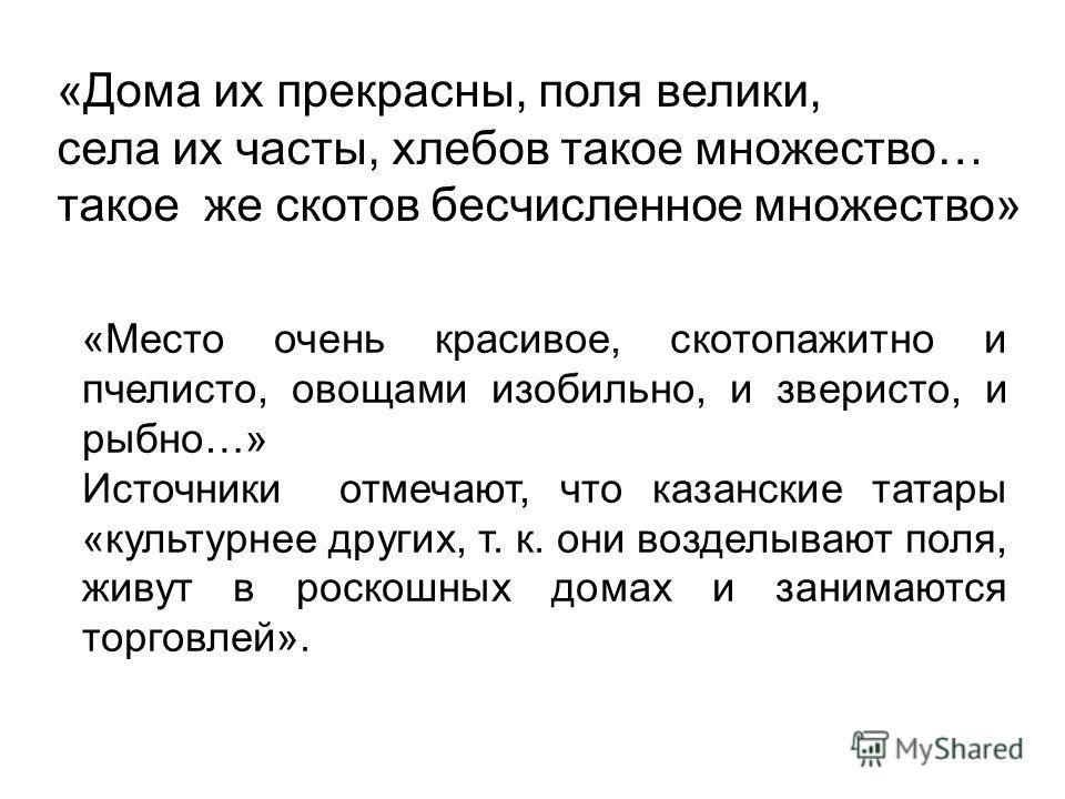 «Дома их прекрасны, поля велики, села их часты, хлебов такое множество… такое же скотов бесчисленное множество» «Место очень красивое, скотопажитно и пчелисто, овощами изобильно, и зверисто, и рыбно…» Источники отмечают, что казанские татары «культур
