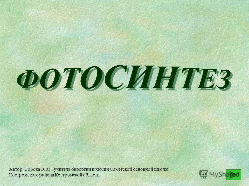 Ф О Т О СИ Н Т Е З Автор: Сорока Э.Ю., учитель биологии и химии Саметской основной школы Костромского района Костромской области