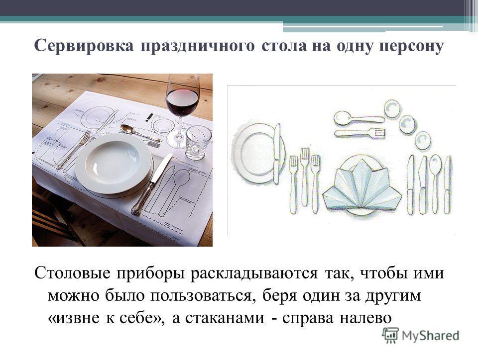Сервировка праздничного стола на одну персону Cтоловые приборы раскладываются так, чтобы ими можно было пользоваться, беря один за другим «извне к себе», а стаканами - справа налево
