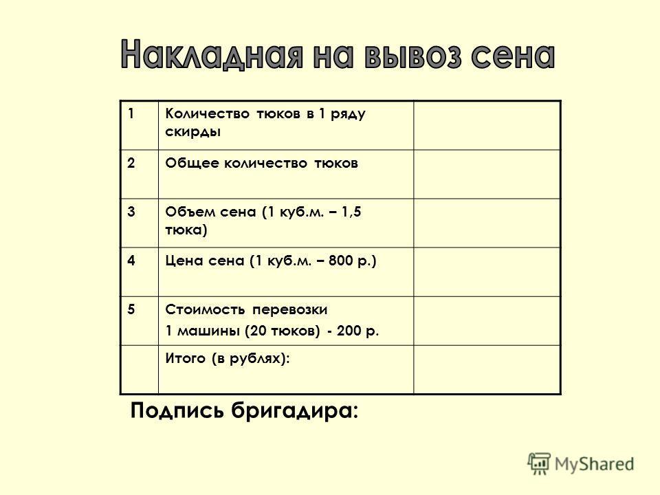 1Количество тюков в 1 ряду скирды 2Общее количество тюков 3Объем сена (1 куб.м. – 1,5 тюка) 4Цена сена (1 куб.м. – 800 р.) 5Стоимость перевозки 1 машины (20 тюков) - 200 р. Итого (в рублях): Подпись бригадира: