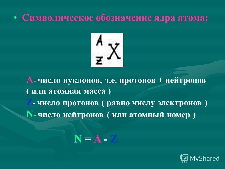 Символическое обозначение ядра атома: А - число нуклонов, т.е. протонов + нейтронов ( или атомная масса ) Z - число протонов ( равно числу электронов ) N - число нейтронов ( или атомный номер ) N = A - Z