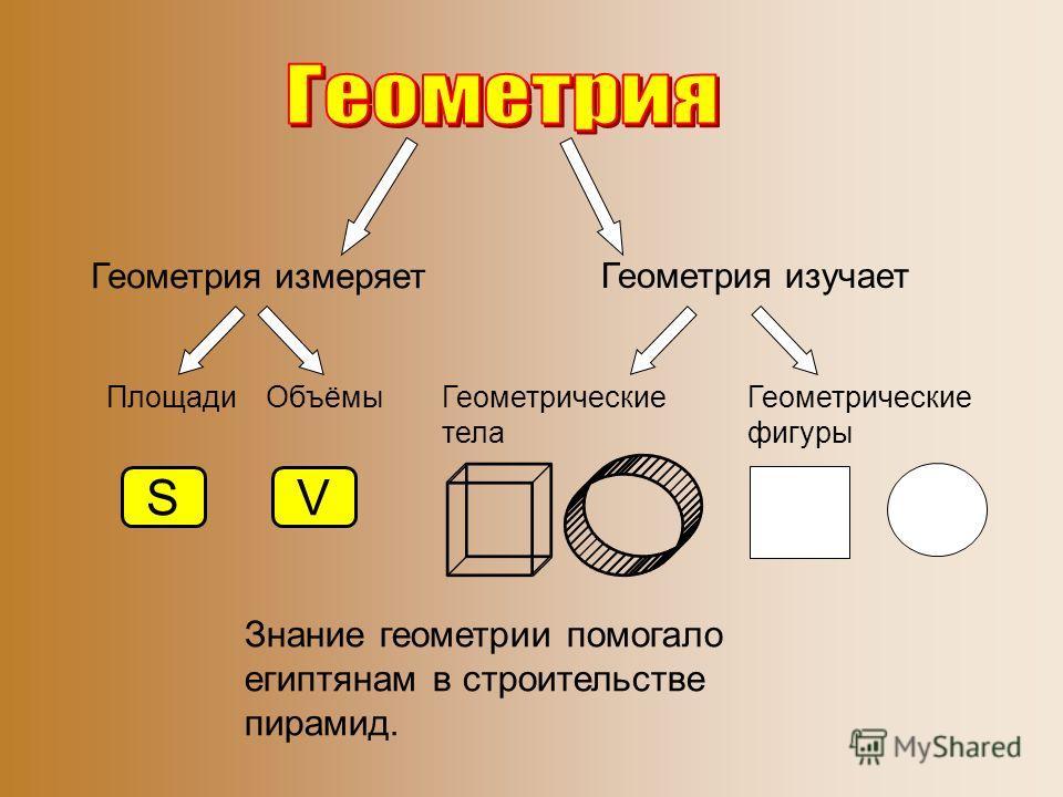 Геометрия измеряет Геометрия изучает Геометрические фигуры Геометрические тела Объёмы SV Площади Знание геометрии помогало египтянам в строительстве пирамид.