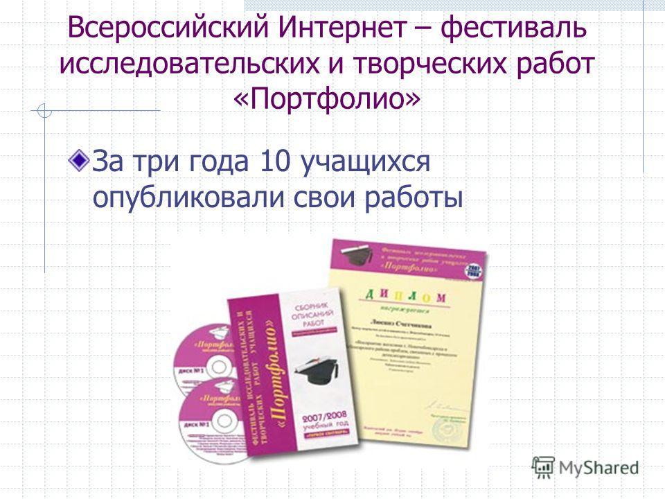 Всероссийский Интернет – фестиваль исследовательских и творческих работ «Портфолио» За три года 10 учащихся опубликовали свои работы
