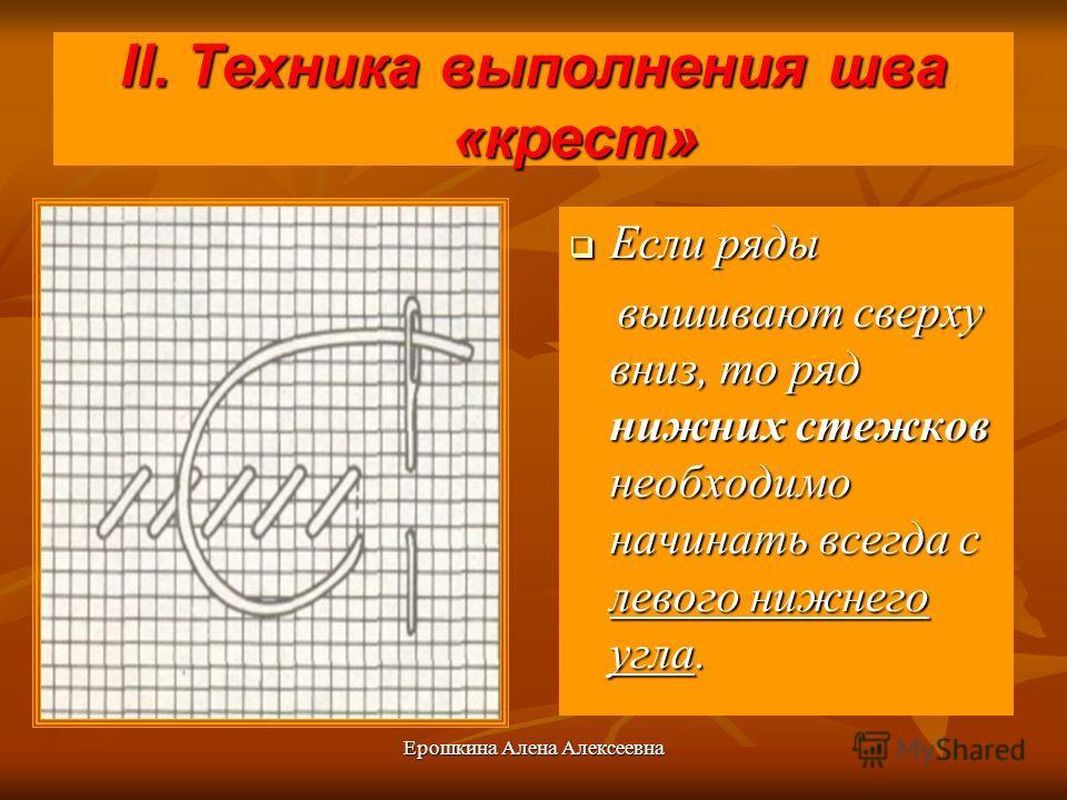 Ерошкина Алена Алексеевна II. Техника выполнения шва «крест» Если ряды Если ряды вышивают сверху вниз, то ряд нижних стежков необходимо начинать всегда с левого нижнего угла. вышивают сверху вниз, то ряд нижних стежков необходимо начинать всегда с ле