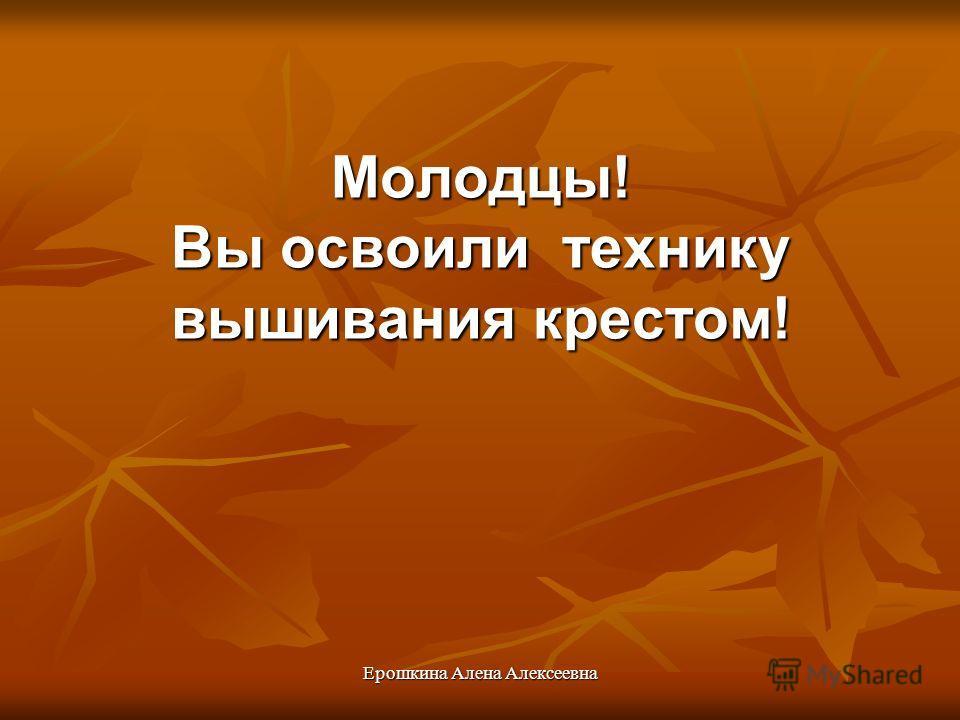 Ерошкина Алена Алексеевна Молодцы! Вы освоили технику вышивания крестом!