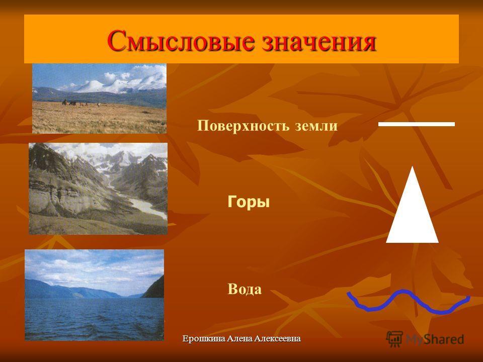 Ерошкина Алена Алексеевна Смысловые значения Поверхность земли Горы Вода