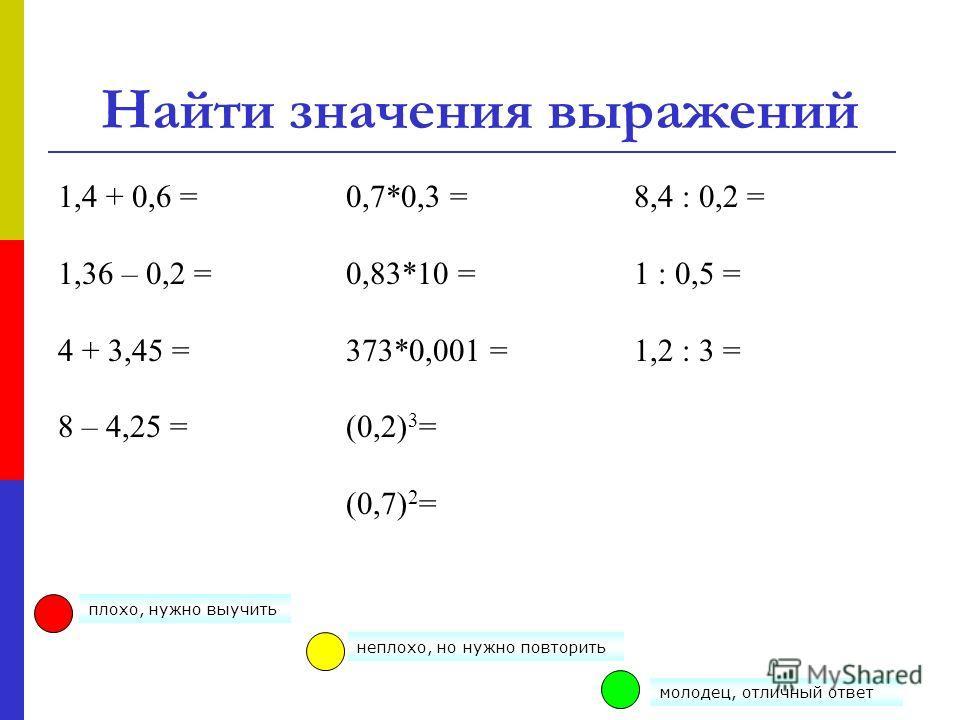 Найти значения выражений 1,4 + 0,6 = 1,36 – 0,2 = 4 + 3,45 = 8 – 4,25 = 0,7*0,3 = 0,83*10 = 373*0,001 = (0,2) 3 = (0,7) 2 = 8,4 : 0,2 = 1 : 0,5 = 1,2 : 3 = плохо, нужно выучить молодец, отличный ответ неплохо, но нужно повторить