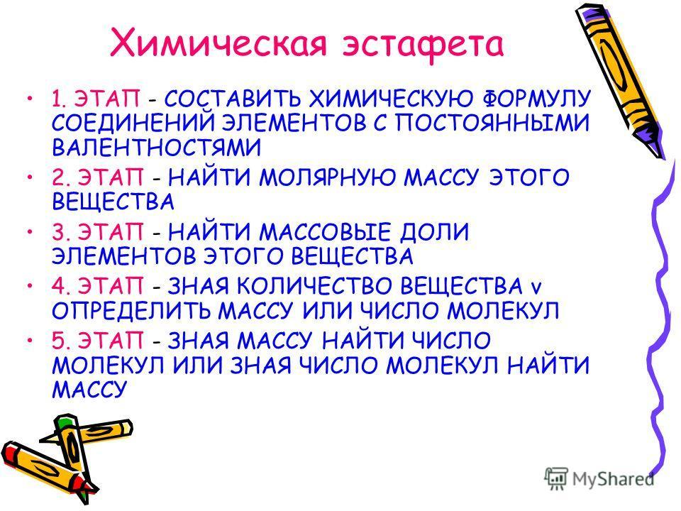 Химическая эстафета 1. ЭТАП - СОСТАВИТЬ ХИМИЧЕСКУЮ ФОРМУЛУ СОЕДИНЕНИЙ ЭЛЕМЕНТОВ С ПОСТОЯННЫМИ ВАЛЕНТНОСТЯМИ 2. ЭТАП - НАЙТИ МОЛЯРНУЮ МАССУ ЭТОГО ВЕЩЕСТВА 3. ЭТАП - НАЙТИ МАССОВЫЕ ДОЛИ ЭЛЕМЕНТОВ ЭТОГО ВЕЩЕСТВА 4. ЭТАП - ЗНАЯ КОЛИЧЕСТВО ВЕЩЕСТВА ν ОПРЕ