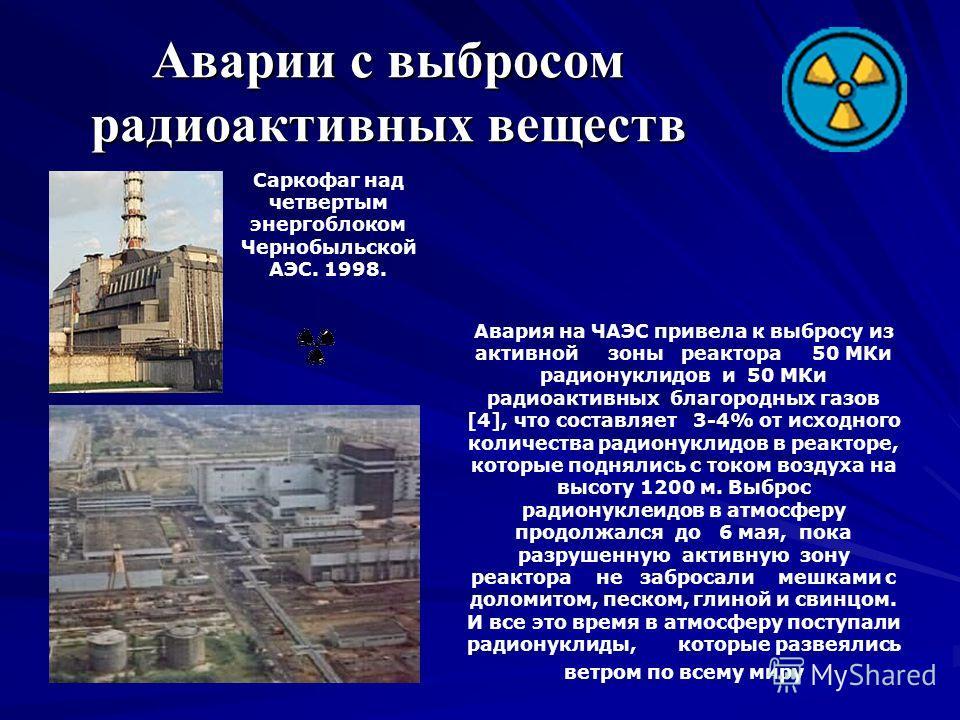 Последствия аварии ЧАЭС Авария на Чернобыльской АЭС вызвала крупномасштабное радиоактивное заражение местности, зданий, сооружений, дорог, лесных массивов и водоемов не только на Украине, но и далеко за её пределами. На волю вырвалось более 8 тонн то