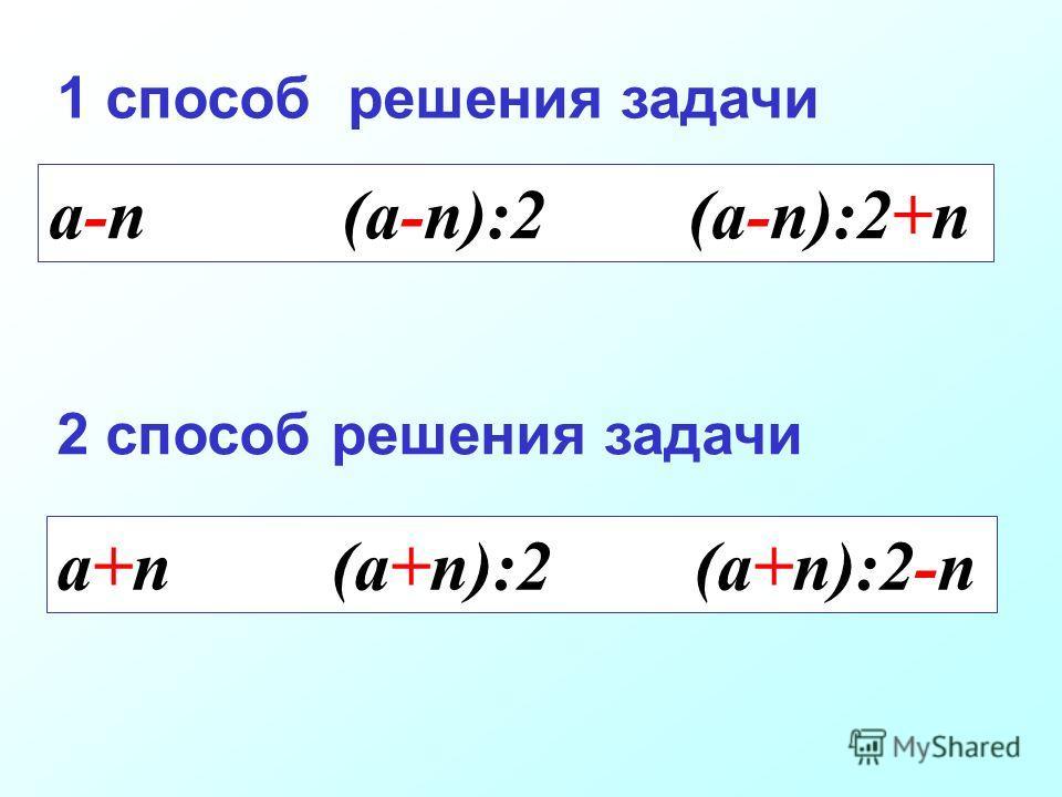 a-n (a-n):2 (a-n):2+n 1 способ решения задачи 2 способ решения задачи a+n (a+n):2 (a+n):2-n