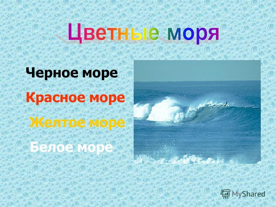 Черное море Красное море Желтое море Белое море