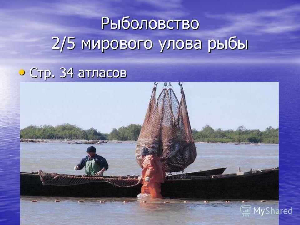 Рыболовство 2/5 мирового улова рыбы Стр. 34 атласов Стр. 34 атласов