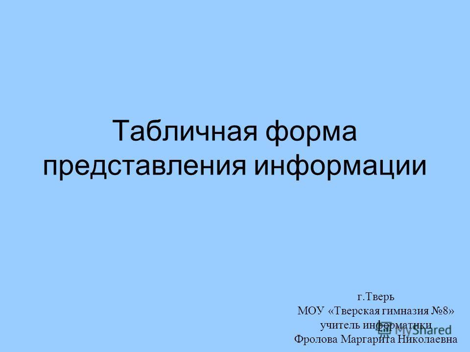 Табличная форма представления информации г.Тверь МОУ «Тверская гимназия 8» учитель информатики Фролова Маргарита Николаевна