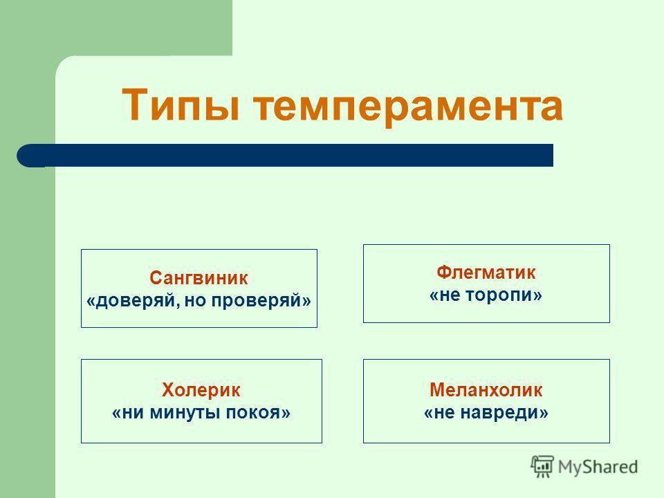 Типы темперамента Сангвиник «доверяй, но проверяй» Холерик «ни минуты покоя» Флегматик «не торопи» Меланхолик «не навреди»