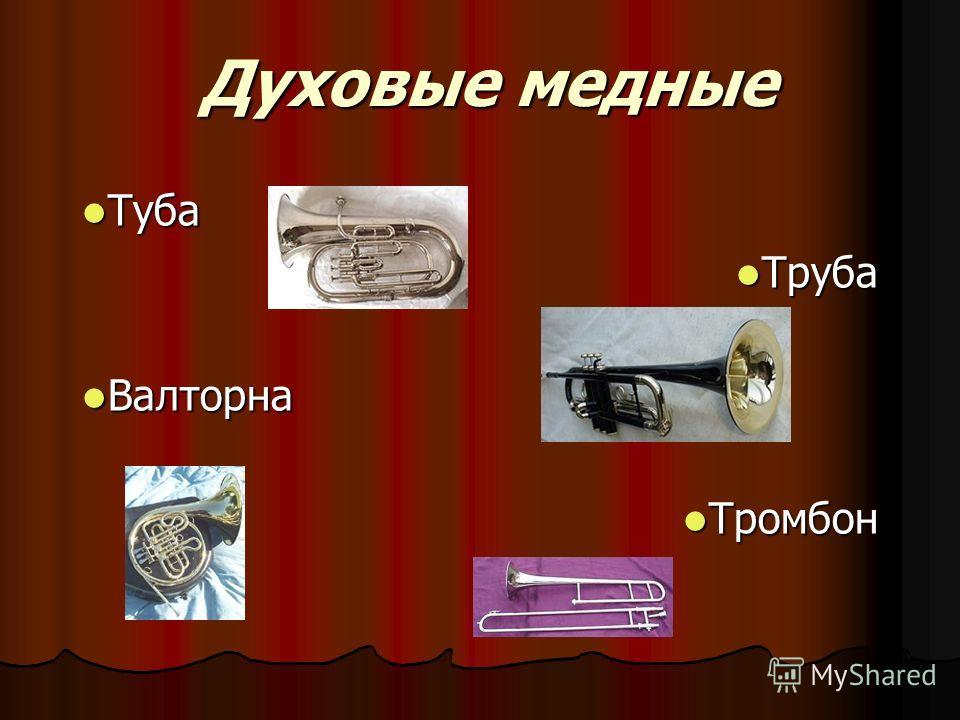 Духовые медные Туба Туба Труба Труба Валторна Валторна Тромбон Тромбон