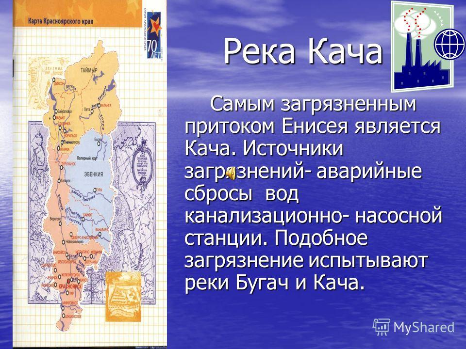 Река Кача Самым загрязненным притоком Енисея является Кача. Источники загрязнений- аварийные сбросы вод канализационно- насосной станции. Подобное загрязнение испытывают реки Бугач и Кача. Самым загрязненным притоком Енисея является Кача. Источники з