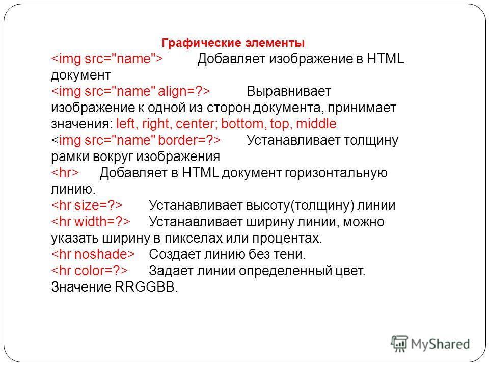 Графические элементы Добавляет изображение в HTML документ Выравнивает изображение к одной из сторон документа, принимает значения: left, right, center; bottom, top, middle Устанавливает толщину рамки вокруг изображения Добавляет в HTML документ гори