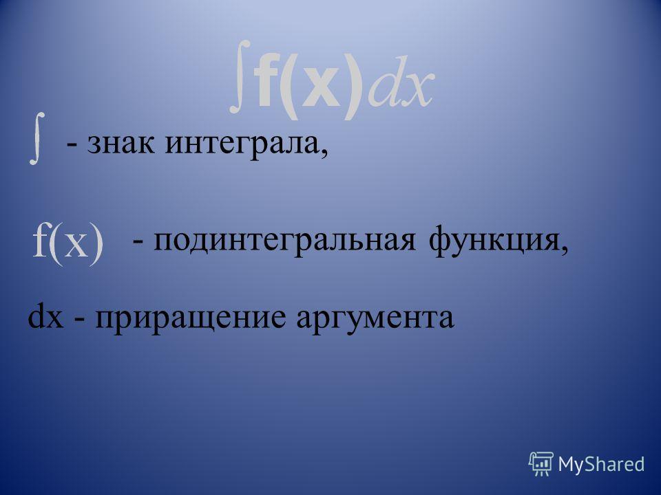 - знак интеграла, - подинтегральная функция, dx - приращение аргумента