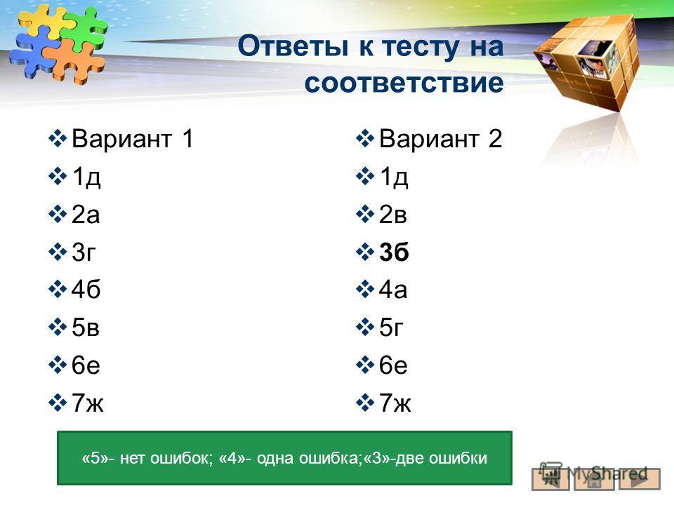 LOGO Ответы к тесту на соответствие Вариант 1 1д 2а 3г 4б 5в 6е 7ж Вариант 2 1д 2в 3б 4а 5г 6е 7ж «5»- нет ошибок; «4»- одна ошибка;«3»-две ошибки
