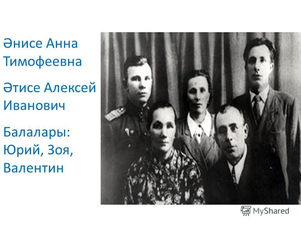 Әнисе Анна Тимофеевна Әтисе Алексей Иванович Балалары: Юрий, Зоя, Валентин