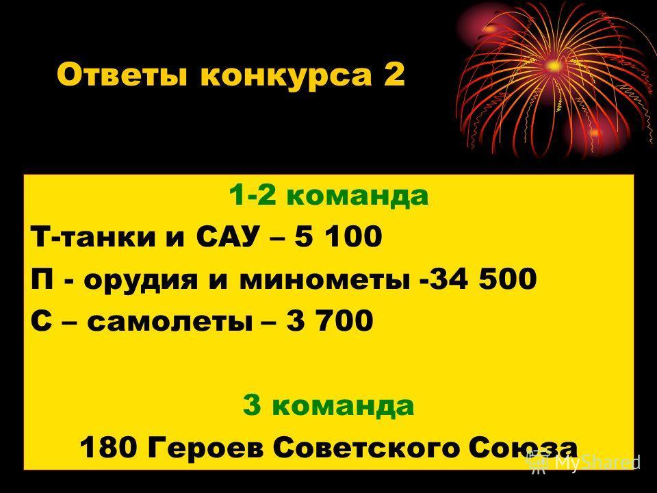 Ответы конкурса 2 1-2 команда Т-танки и САУ – 5 100 П - орудия и минометы -34 500 С – самолеты – 3 700 3 команда 180 Героев Советского Союза