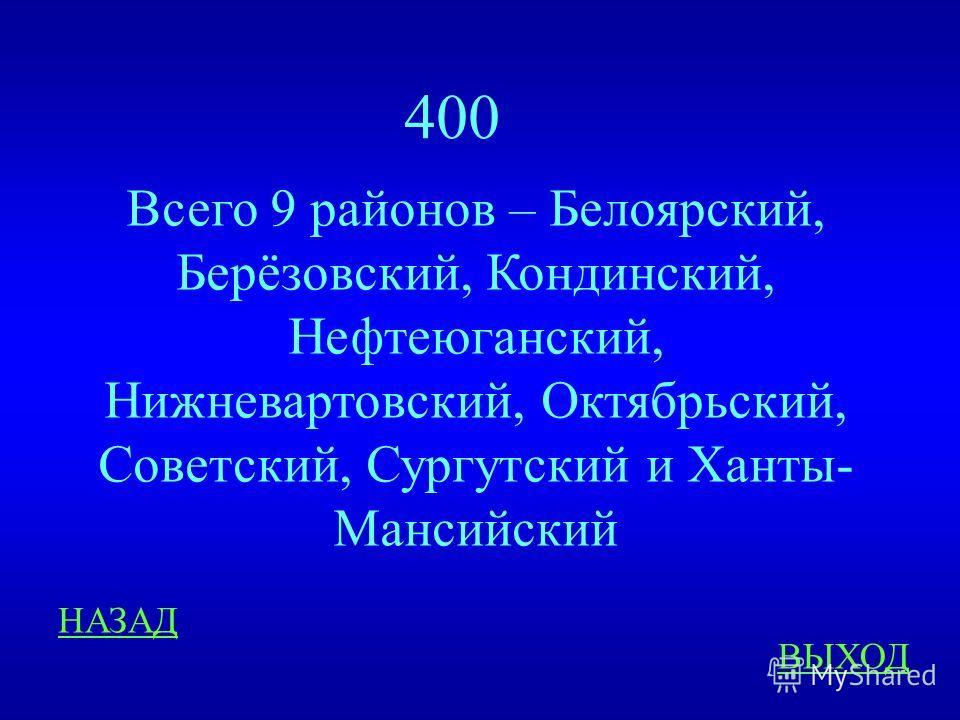 Краеведение 400 ответ Сколько районов входит в состав ХМАО? (перечисли не меньше 5)
