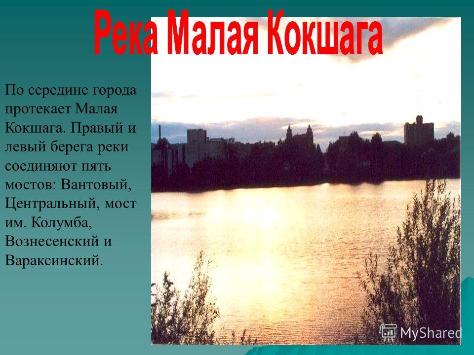 По середине города протекает Малая Кокшага. Правый и левый берега реки соединяют пять мостов: Вантовый, Центральный, мост им. Колумба, Вознесенский и Вараксинский.