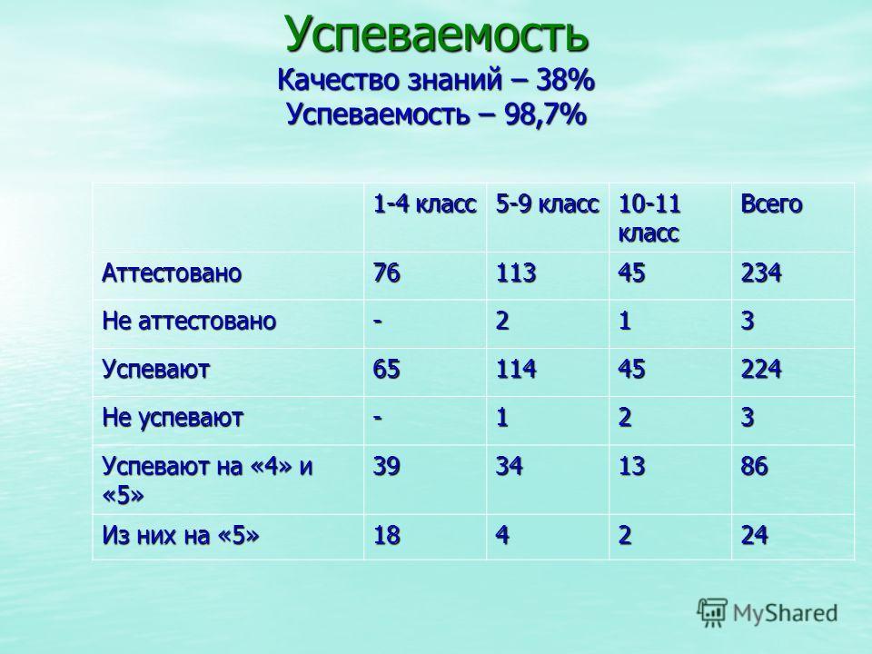 Успеваемость Качество знаний – 38% Успеваемость – 98,7% 1-4 класс 5-9 класс 10-11 класс Всего Аттестовано7611345234 Не аттестовано -213 Успевают6511445224 Не успевают -123 Успевают на «4» и «5» 39341386 Из них на «5» 184224