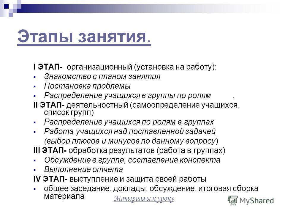 Этапы занятия. I ЭТАП- организационный (установка на работу): Знакомство с планом занятия Постановка проблемы Распределение учащихся в группы по ролям. II ЭТАП- деятельностный (самоопределение учащихся, список групп) Распределение учащихся по ролям в