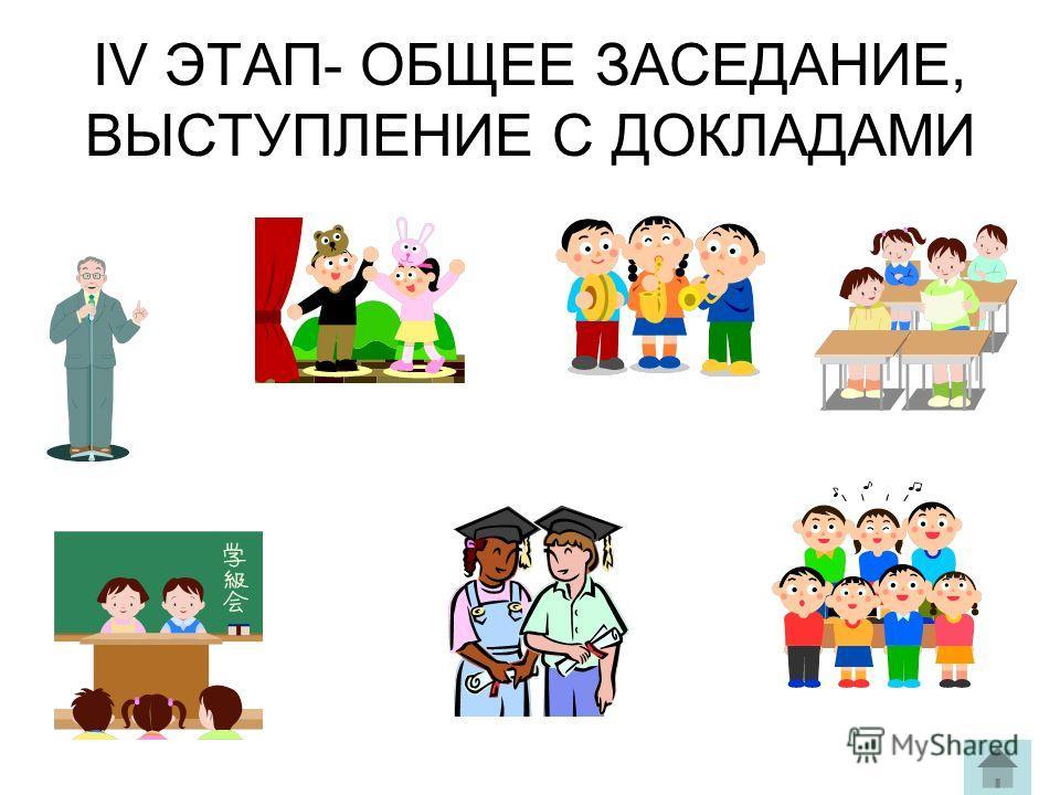 IV ЭТАП- ОБЩЕЕ ЗАСЕДАНИЕ, ВЫСТУПЛЕНИЕ С ДОКЛАДАМИ