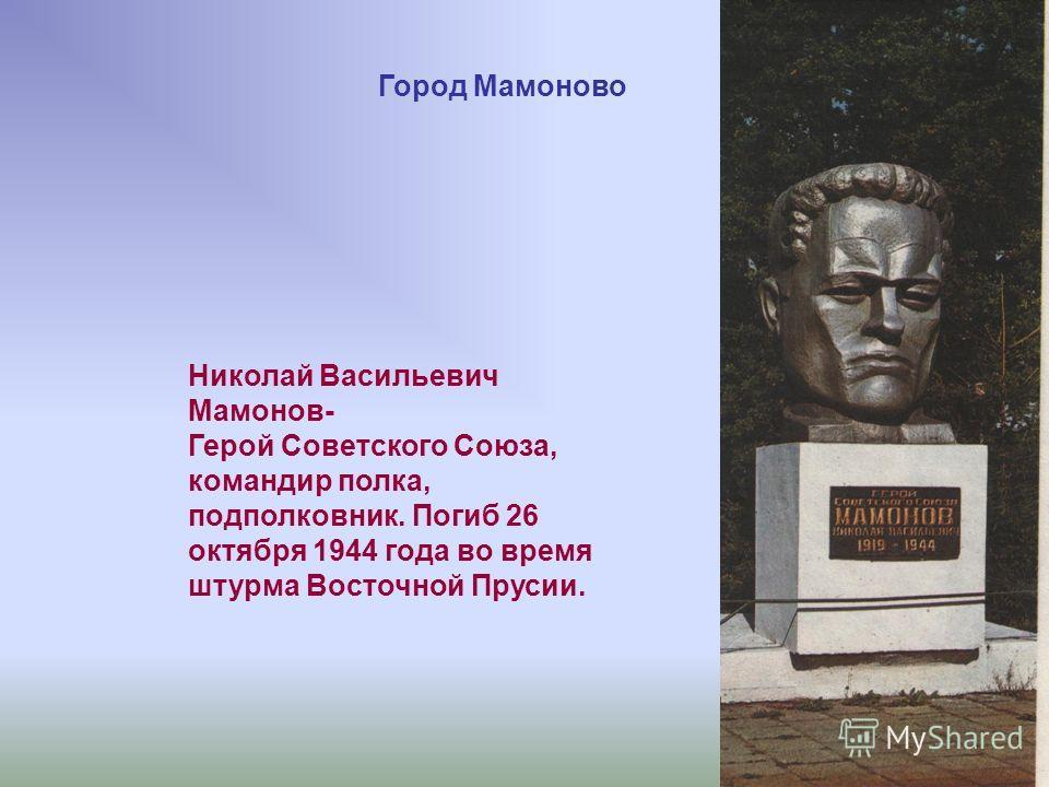 Николай Васильевич Мамонов- Герой Советского Союза, командир полка, подполковник. Погиб 26 октября 1944 года во время штурма Восточной Прусии. Город Мамоново