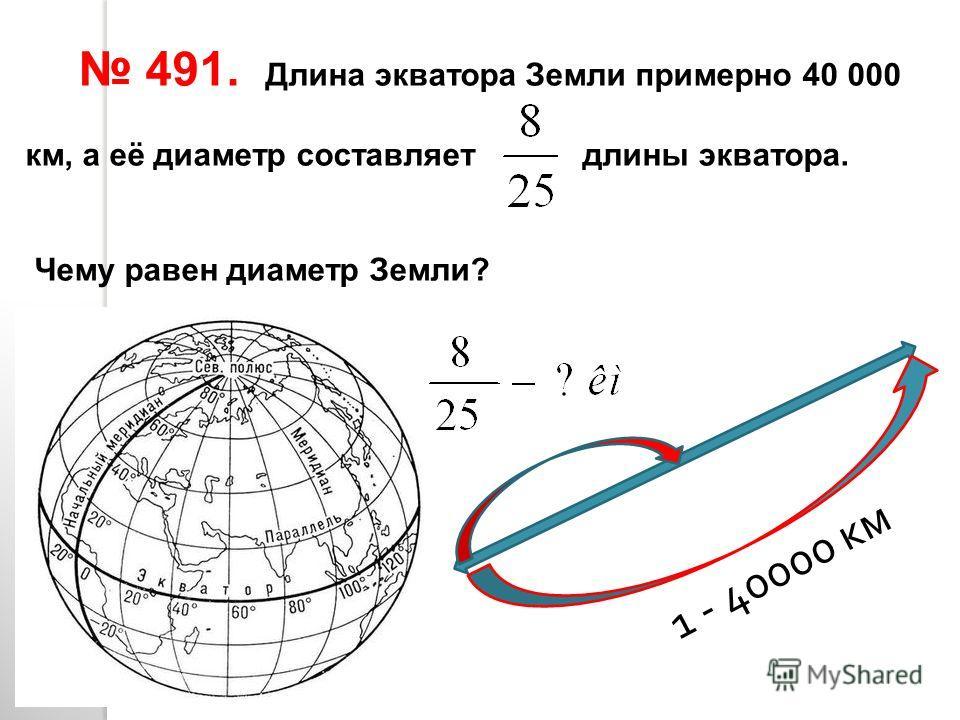 491. Длина экватора Земли примерно 40 000 км, а её диаметр составляет длины экватора. Чему равен диаметр Земли? 1 - 40000 км